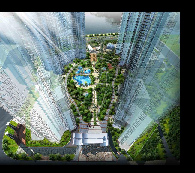 居住区中心景观鸟瞰分层效果图