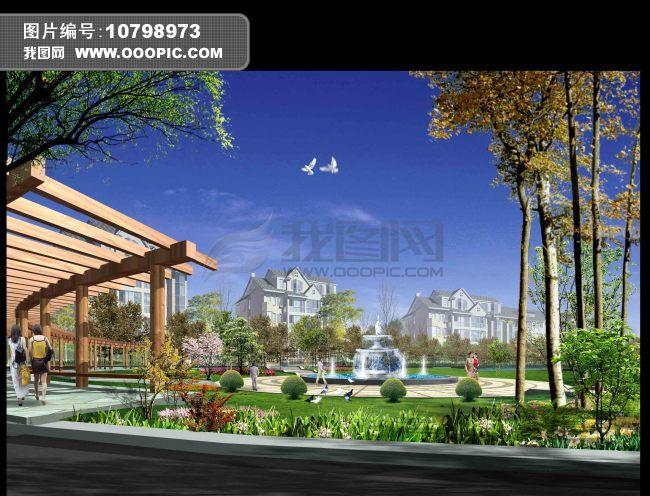 设计稿 室内装饰|无框画|背景墙 园林设计 > 别墅广场喷泉花架景观图片