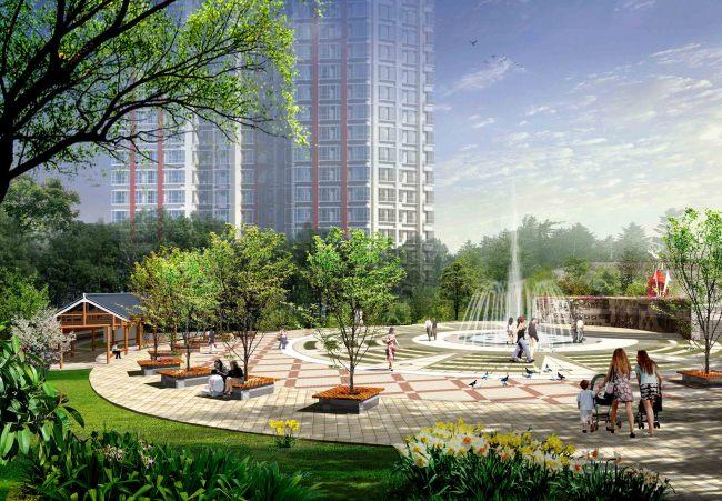 居住区休闲广场喷泉景观效果图