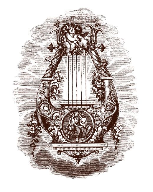 手绘竖琴唯美图片