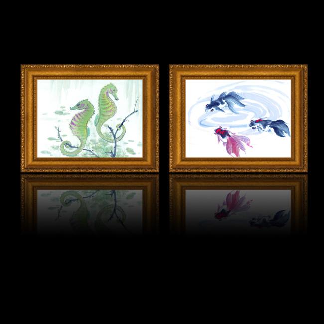 海马/[版权图片]水墨画鱼海马