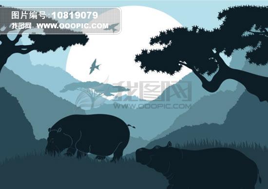 图案 素材/动物剪影图案素材