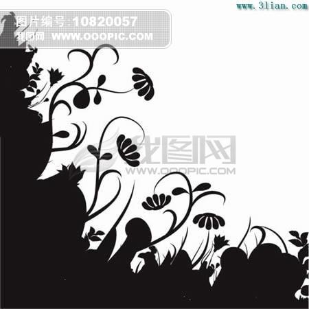 黑白植物花卉素材模板下载(图片编号:10820057)