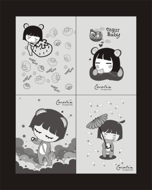 卡套 文具盒 文具相册 贺卡 卡片 明信片 卡通 动漫 可爱 水果 香蕉