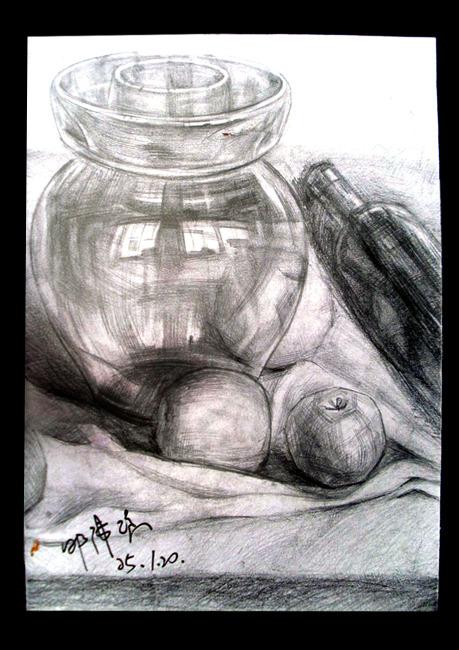 > 静物素描画铅笔画