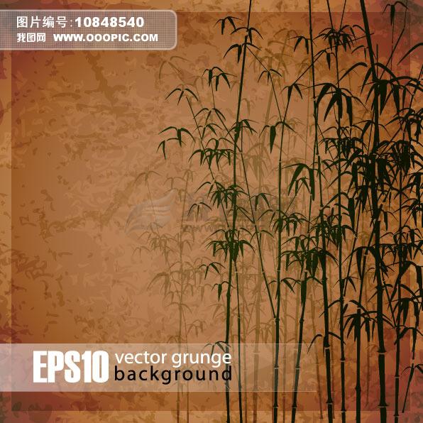 竹林手绘花纹背景