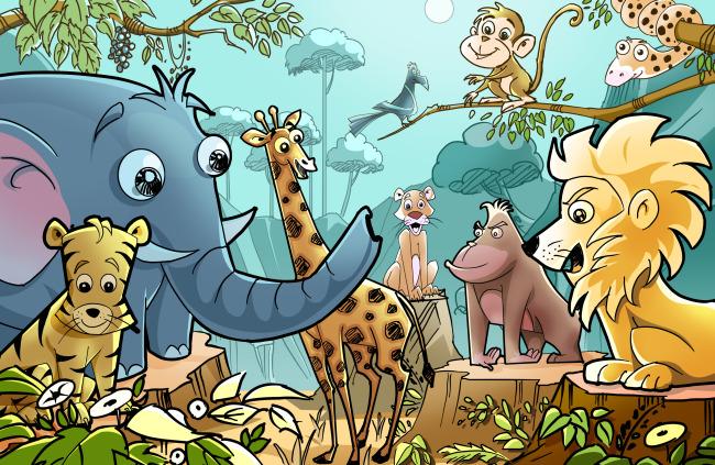 森林动物开会图片
