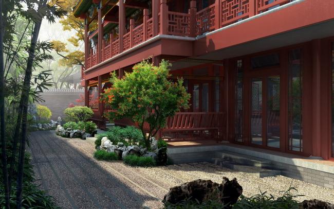 庭院红木古建筑效果图