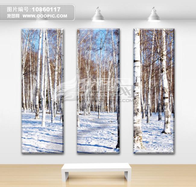 室内装饰画白桦林
