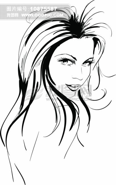 矢量线条人物图片素材图片下载 手绘速写人物 美女头像 线条人物 绘画