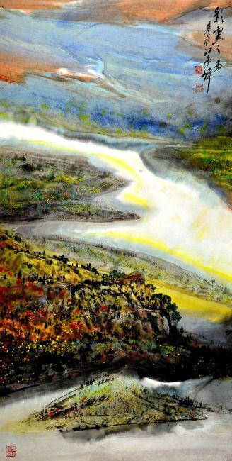 山脉溪流风景画模板下载 10886359 其它 其他