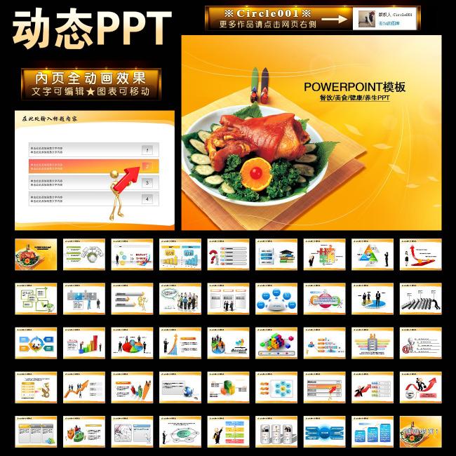 ppt 模板/餐饮美食厨师学校培训报告幻灯片PPT模板