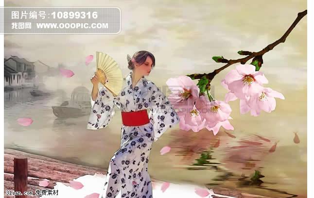 手绘日本美女psd素材