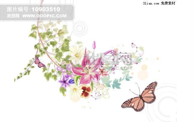 韩国手绘藤条植物psd分层素材