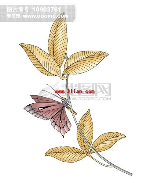 手绘树枝蝴蝶psd分层素材