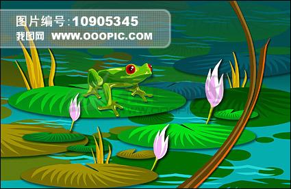 荷叶上的青蛙模板下载(图片编号:10905345)