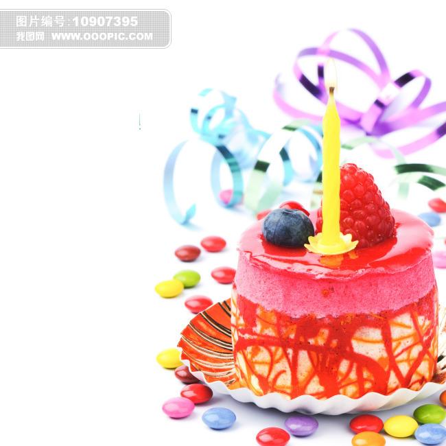 生日蛋糕 生日贺卡 生日蜡烛 新鲜水果 彩色糖果 生日快乐 背景 壁纸