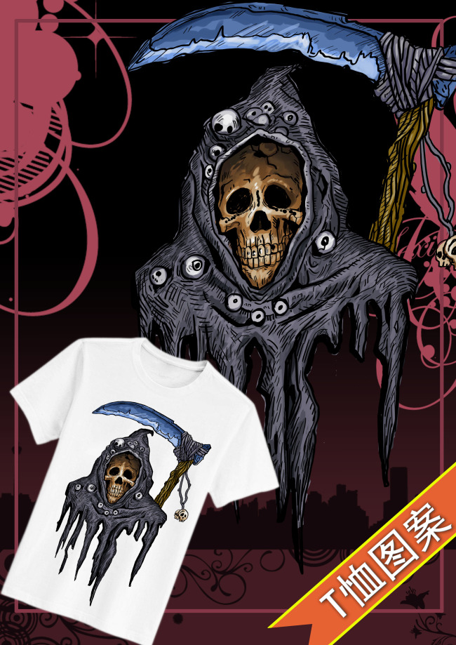 骷髅t恤图案设计