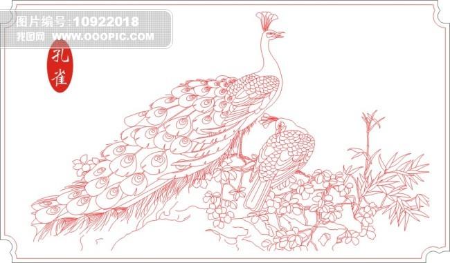 矢量孔雀线描模板下载(图片编号:10922018)