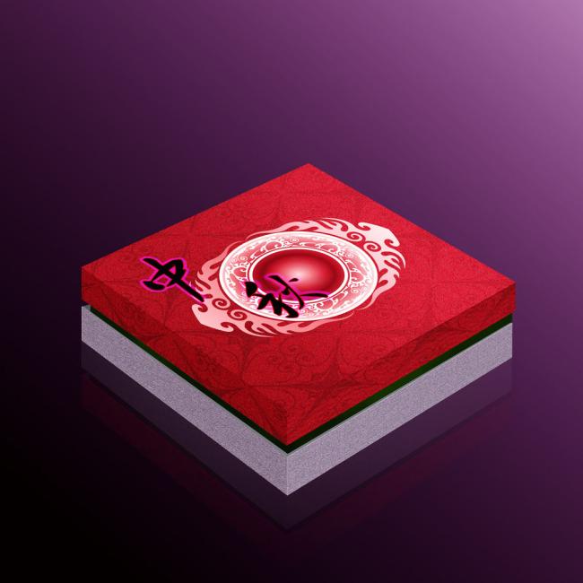 设计/中秋月饼包装盒设计平面展开图psd