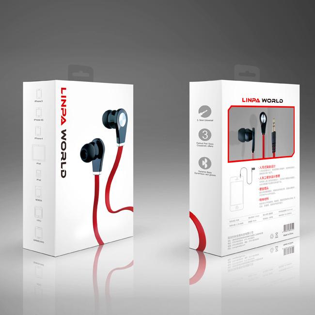 耳机包装设计 耳机外包装盒展开图模板下载