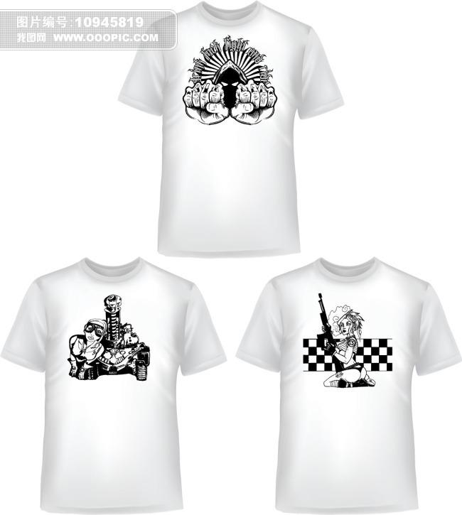 潮流图案t恤衫设计图