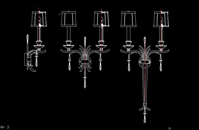 欧式壁灯系列cad设计图纸