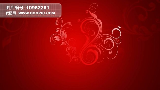 红色背景 花纹生长 转场视频素材