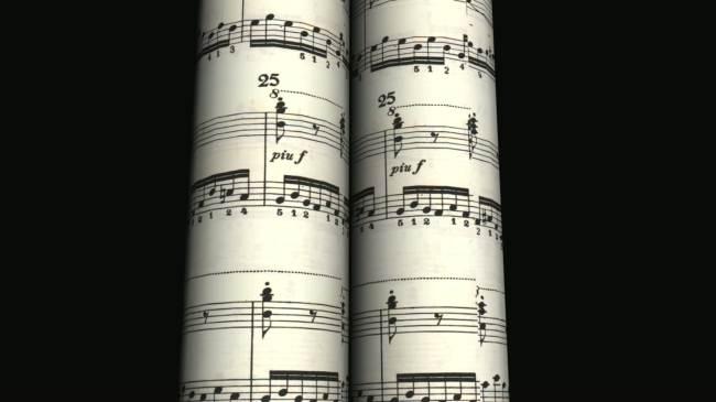 动态圆筒五线谱乐谱高清led大屏幕视频