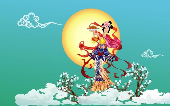 仕女 漫画人物 手绘 装饰画 艺术画 古黄人物 民间传说  嫦娥奔月中秋