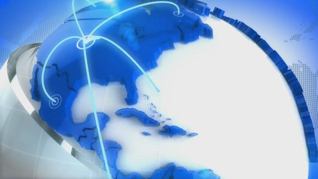 新闻栏目节目片头地球通讯蓝色高清视频素材模板下载