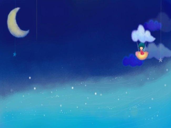 夜晚星星月亮卡通