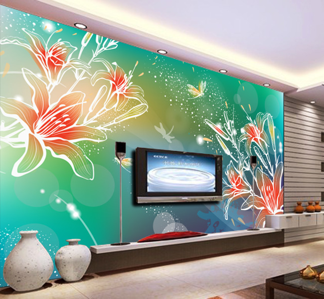 背景墙|装饰画 电视背景墙 手绘电视背景墙 > 百合花舞  下一张