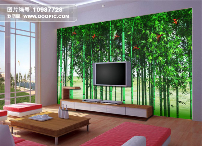 背景墙|装饰画 电视背景墙 手绘电视背景墙 > 竹林飞雀客厅电视背景墙