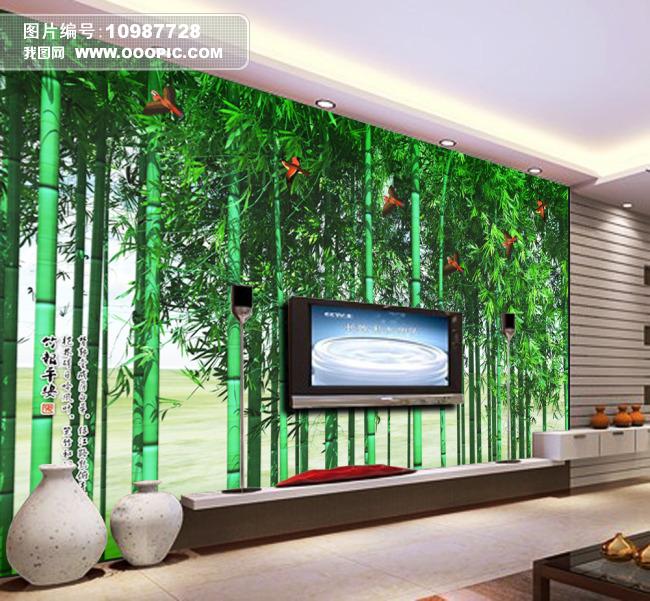 竹林飞雀;; 竹报平安; 手绘竹子电视背景墙