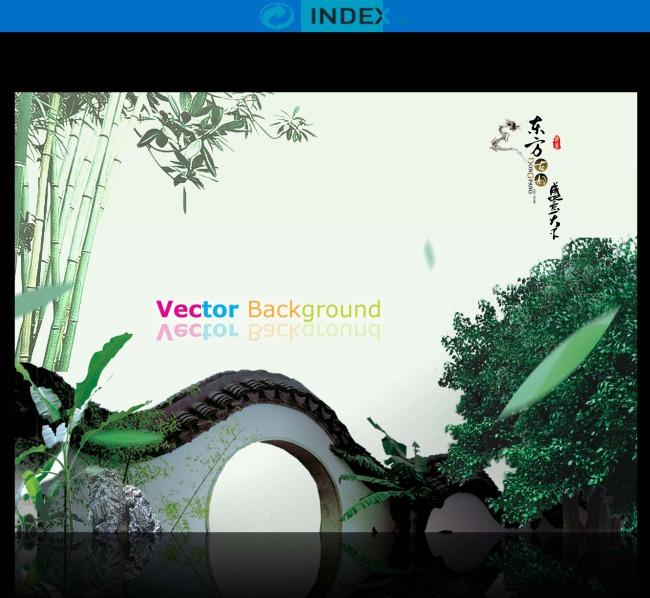 绿色中国风古典园林高雅海报设计
