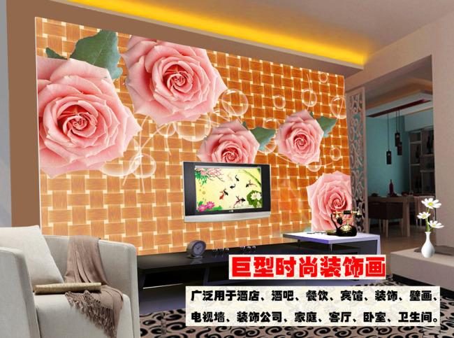 背景墙|装饰画 电视背景墙 手绘电视背景墙 > 梦幻牡丹电视背景墙