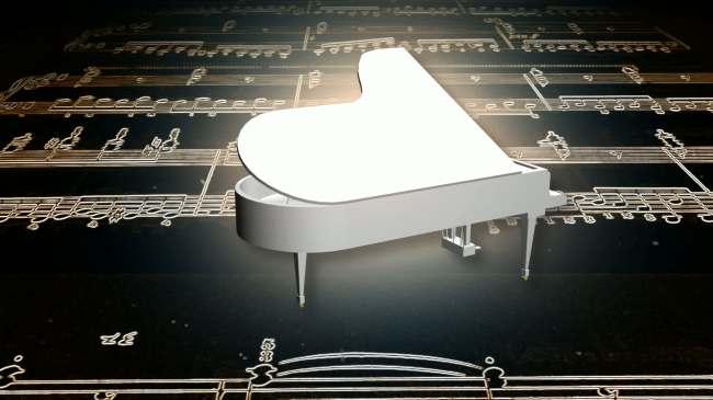 3d三角钢琴五线谱上旋转高清视频素材