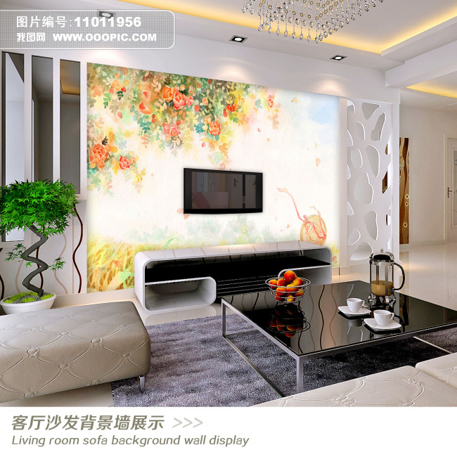 手绘花卉花朵电视背景墙装饰画