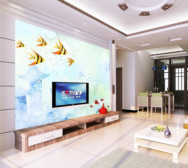 家居装修背景墙海洋电视背景墙实物装修图图片2