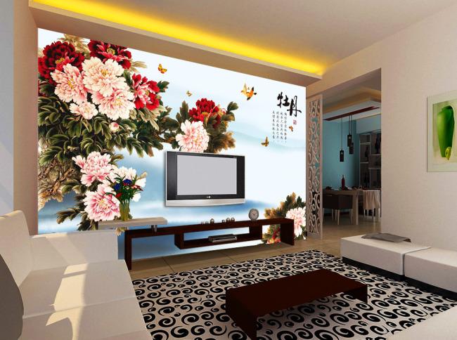 背景墙|装饰画 电视背景墙 手绘电视背景墙 > 蝶恋牡丹电视背景墙
