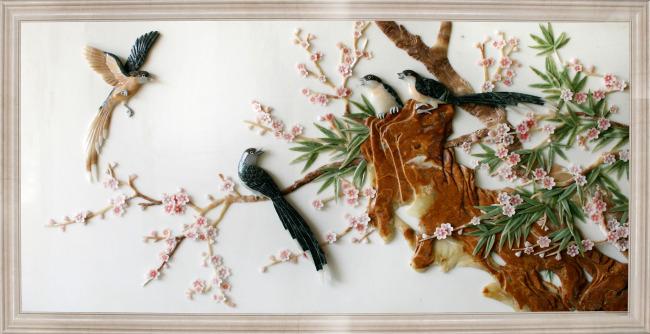 浮雕 花鸟画 浮雕图案 石材工艺 雕刻 玉石 浮雕画 玉雕 装饰画 中堂