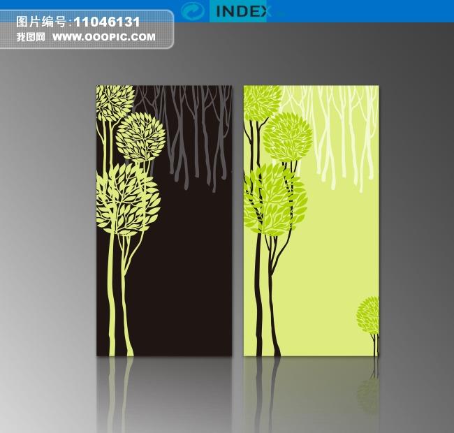 古典温馨典雅手绘树室内无框画