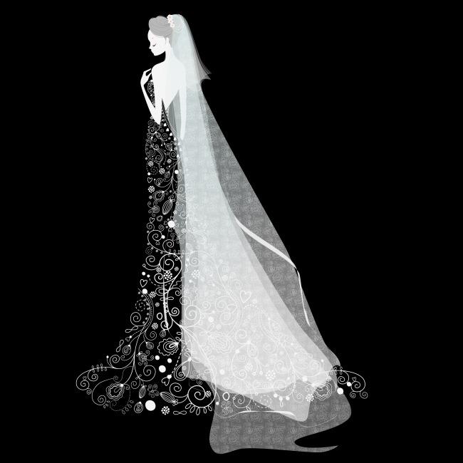 新娘手绘婚纱素材