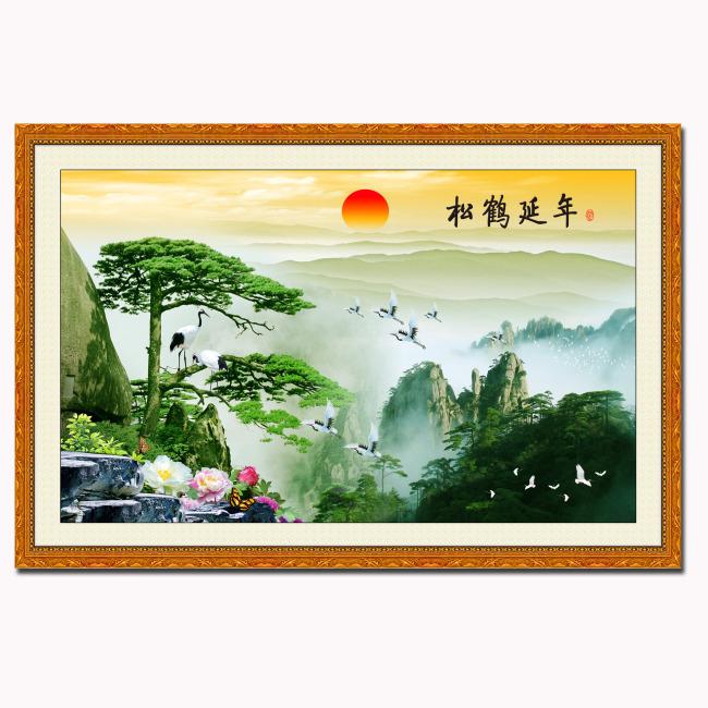 中堂画 中堂壁画 中堂图 中堂画素材 太阳 松鹤 松鹤延年图 松寿延年
