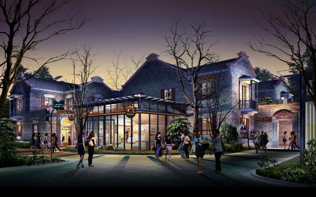 42中式商业街建筑夜景亮化效果图psd图片