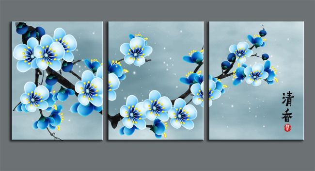 油画 花卉 蓝色梅花 蓝色 电视背景墙 蝴蝶 十字绣 插花 电脑手绘 ps