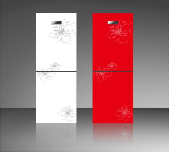 冰箱面板设计图片下载 冰箱面板设计 冰箱彩晶玻璃 冰箱设计矢量 花卉