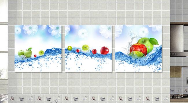 小清新苹果图片下载 蓝色花卉 水滴 清新苹果 现代简约 客厅无框画