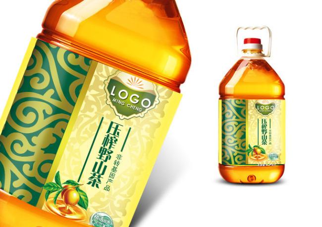 压榨野山茶食用油标签设计